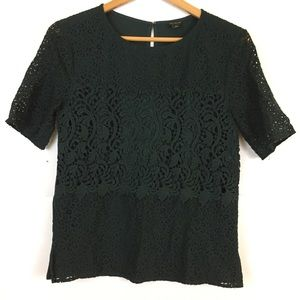 Ann Taylor black lace blouse top holiday classic S